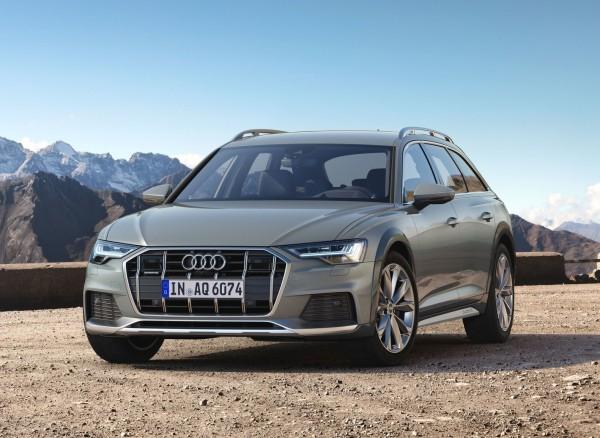 Audi A6 Allroad- pohľad spredu, detail- zelená farba