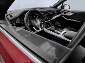 Audi Q7- interiér, detail prístrojová doska - červená farba