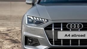 Audi A4 Allroad- pohľad spredu, detail predná maska, svetlo- sivá farba