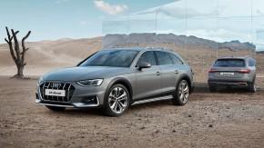 Audi A4 Allroad- trojštvrťový pohľad spredu, pohľad zozadu- sivá farba