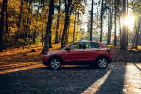 Volkswagen T-Cross- pohľad zboku- oranžová farba
